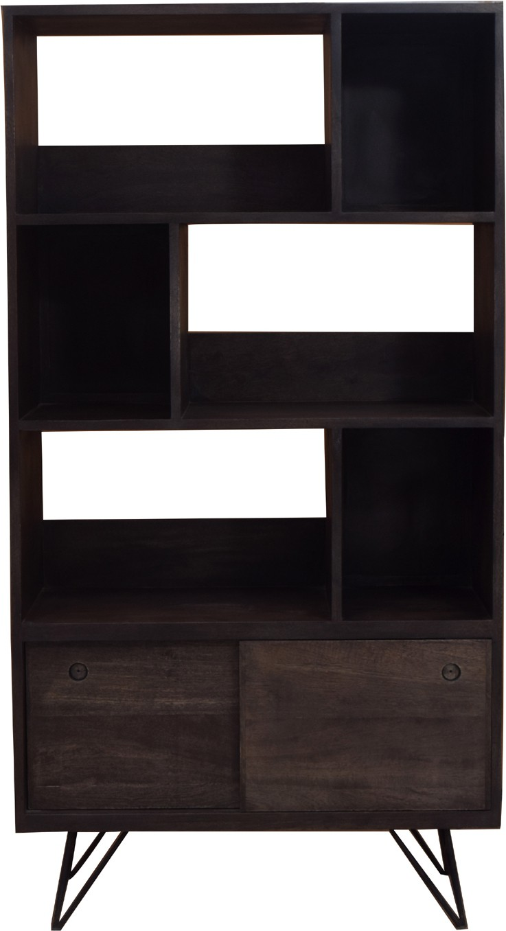 View Jivan Solid Wood Open Book Shelf(Finish Color - Black) Furniture (Jivan)