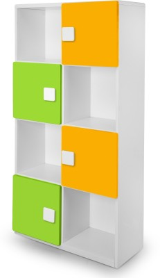 Alex Daisy Universal Engineered Wood Semi-Open Book Shelf(Finish Color - White, Yellow & Green)