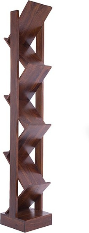 Jivan Solid Wood Display Unit(Finish Color - Walnut Brown)
