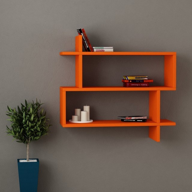 View Kings Crafts Solid Wood Open Book Shelf(Finish Color - Orange) Furniture (Kingscrafts)