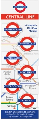 If by Chitra London Underground Mini Bookmarks - Central Magnetic Bookmark