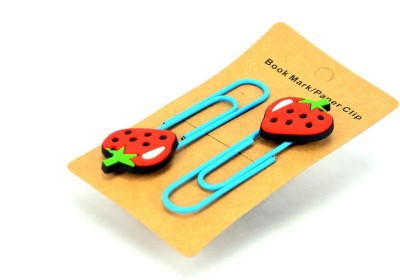 Enwraps Strawberry 2 pcs Metal Clip Bookmark