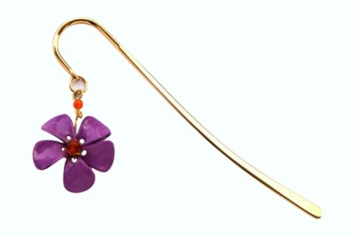 Kanhai Dainty Flower Clip Type Bookmark(Nature, Purple)