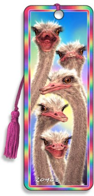 Om Book Shop Ostriches 3D Bookmark
