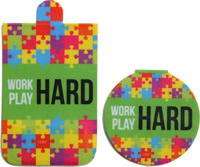 QuoteSutra Work Hard Play Hard Set of 2 Magnetic Bookmark
