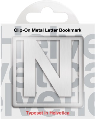 If by Chitra Helvetica Letter - N Metal Clip Bookmark