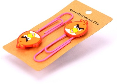 Enwraps Orange Angry Bird 4 pcs Metal Clip Bookmark