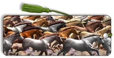 Om Book Shop Running Horses 3D Bookmark