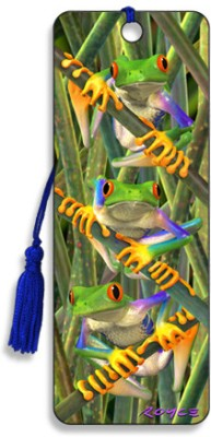 Om Book Shop Tree Frogs 3D Bookmark