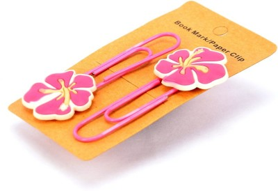 Enwraps Pink Flower 2 pcs Metal Clip Bookmark