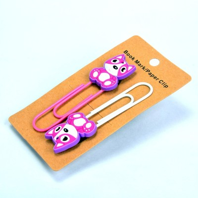 Enwraps Purple Teddy 2 pcs Metal Clip Bookmark