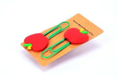 Enwraps Red Apple 2 pcs Metal Clip Bookmark