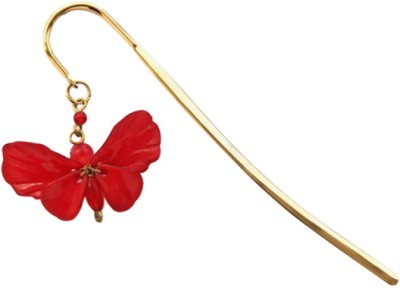 Kanhai Dainty Butterfly Metal Clip Bookmark(Nature, Red)