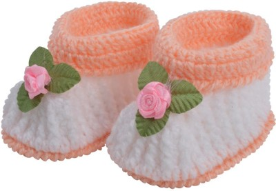 Graykart Peach & White Baby booties / Baby room shoes / Pre walker Booties