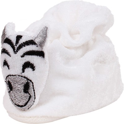 Ole Baby Cute Laughing Zebra Soft Velvet Furry Friend Smiling Cartoon Booties