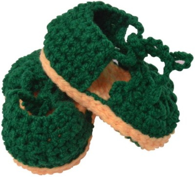 Graykart Green & Yelow Knitted wool shoes / Baby booties / Pre walker Booties