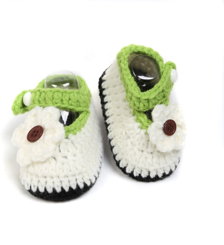 Baby Oodles Booties(Toe to Heel Length - 10 cm White)