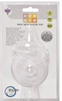 Mee Mee Comfort Feeder Silicone Teat MM-1857 White PK-2 Medium Flow Nipple(Pack of 2 Nipples)