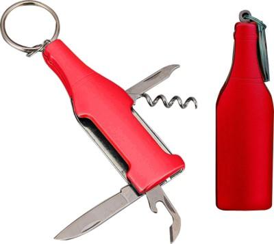 ShadowFax KEYCHAIN Metal Wine Bottle Shape Keychain with 5 Tools Bottle Opener(Pack of 1)