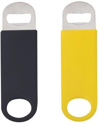 Mosaic 1BRW-BTO-CVNL-BKYLS2 Vinyl Coated Black Yellow Bottle Opener Set