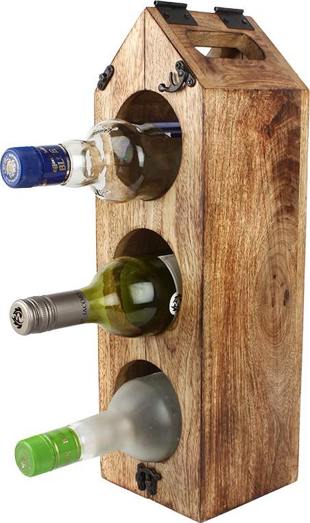 View EarthenMetal Wooden Wine Rack(Beige, 3 Bottles) Furniture (EarthenMetal)
