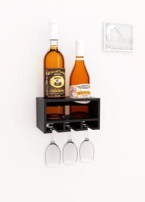 Home Sparkle Wooden Bottle Rack(Black, 2 Bottles)