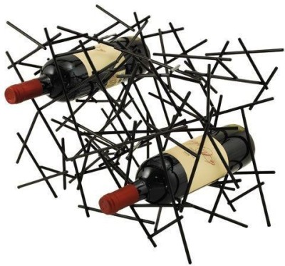 True Vino bottle rack Steel Bottle Rack Cellar(Black, 6 Bottles)