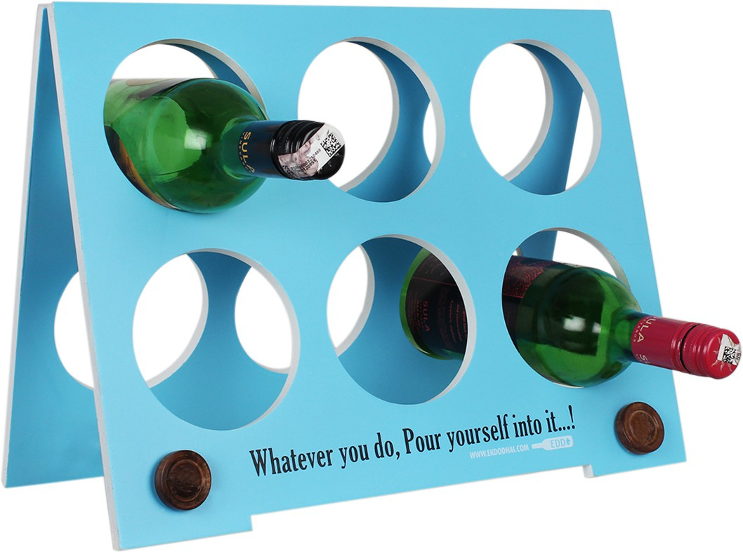 View Ek Do Dhai Wooden Wine Rack(Blue, 6 Bottles) Price Online(Ek Do Dhai)