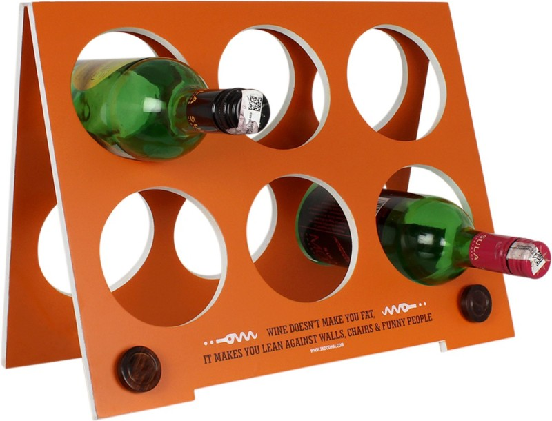 Ek Do Dhai Wooden Wine Rack(Orange, 6 Bottles)