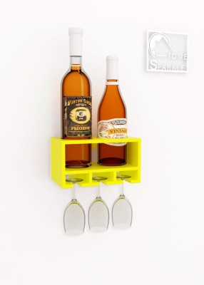 Home Sparkle Wooden Bottle Rack(Yellow, 2 Bottles)