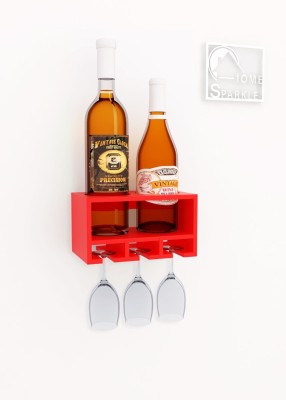 Home Sparkle Wooden Bottle Rack(Red, 2 Bottles)