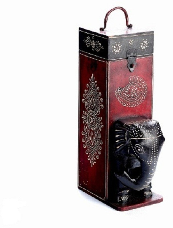 Mariyam Wooden Wine Rack(Black, Red, 1 Bottle)