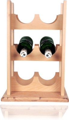 Loxiaa Wooden Bottle Rack(Brown, 6 Bottles)