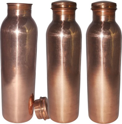 Prisha India Craft Set of 3, Pure Copper Water Thermos Joint Less Best Quality for Ayurvedic Health Benefits 600 ml Bottle