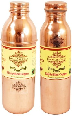 IndianArtVilla Copper Water Bottles Leak Proof joint free Water 1500 ml Bottle(Pack of 2, Brown)