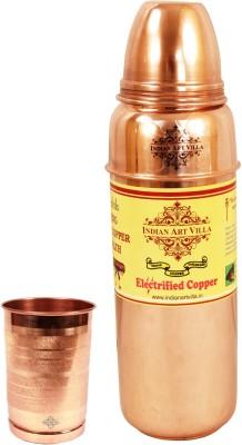 Indian art villa 1 Pure Copper Thermos Design Bottle with 1 Copper Glass 1000 ml Bottle