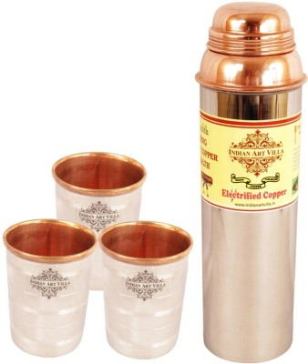 Indian Art Villa 1 Steel Copper Water Bottle with 3 Steel Copper Glass 1650 ml Bottle