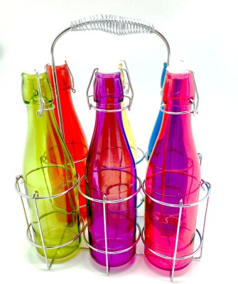 Devnow Colorful Glass With Chrome Caddy 500 ml Bottle Cage(Pack of 7, Multicolored)