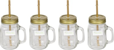 Devnow Handle jar with gold lid and straw 473 ml Bottle