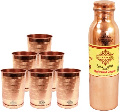 Indian art villa 1 Copper Q7 Joint Free Leak Proof Bottle with 6 Pure Copper Glass 2700 ml Bottle