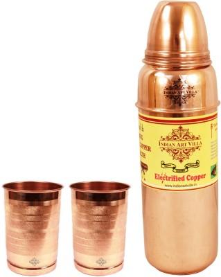 Indian art villa 1 Pure Copper Thermos Design Bottle with 2 Copper Glasses 1300 ml Bottle