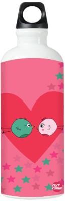 Nutcase Sticker Wrap Design - Birds Hearts Pink Cute 800 ml Bottle