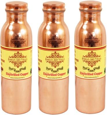 Indian Art Villa Pure Copper Leak Proof joint free Set of 3 Water Bottle Yoga Ayurveda 2700 ml Bottle