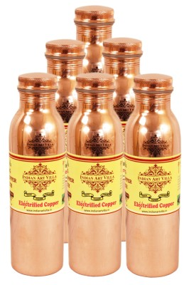 IndianArtVilla Joint Free Leak Proof Copper Water 3300 ml Bottle(Pack of 6, Brown)
