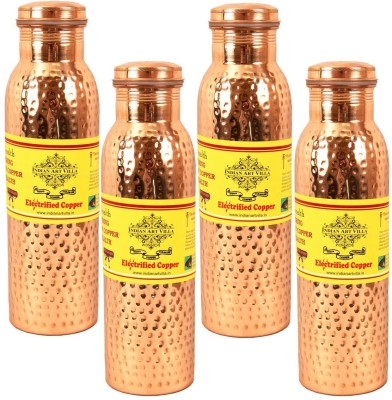 IndianArtVilla Set of 4 Copper Leak Proof Joint Free Thermos Design Water 2200 ml Bottle(Pack of 4, Brown)