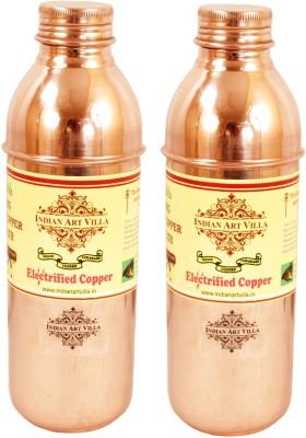 Indian Art Villa Pure Copper Set of 2 Water Bottle Storgae Water Good Health Yoga 1400 ml Bottle