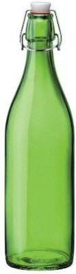 Satyam Kraft Designer High Quality Freeze Safe Air Tight Flip Cap Color Glass Water Bottle - Green 1000 ml Bottle
