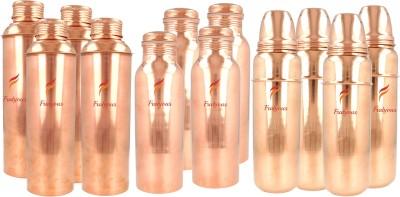 Frabjous handmade pure copper thermos design set of 12 900 ml Bottle(Pack of 12, Brown) at flipkart