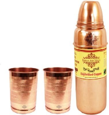 Indian Art Villa 1 Copper Thermose Design Bottle with 2 Copper Glass 1300 ml Bottle