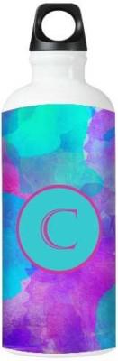 Nutcase Sticker Wrap Design Watercolor - Monogram / Initial Name -C 800 ml Bottle